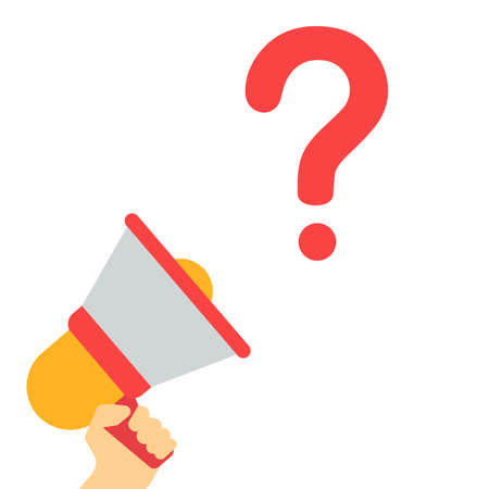 QUESTION MARK SYMBOL Announcement. Hand Holding Megaphone With Speech Bubble. Flat Vector Illustration