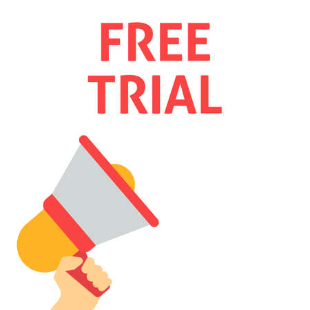 FREE TRIAL Announcement. Hand Holding Megaphone With Speech Bubble. Flat Vector Illustration Vettoriali