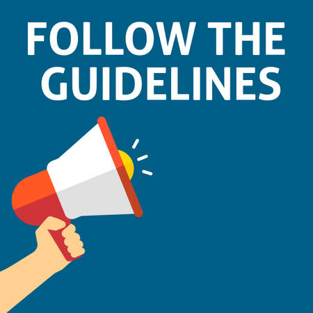FOLLOW THE GUIDELINES Announcement. Hand Holding Megaphone With Speech Bubble. Flat Vector Illustration