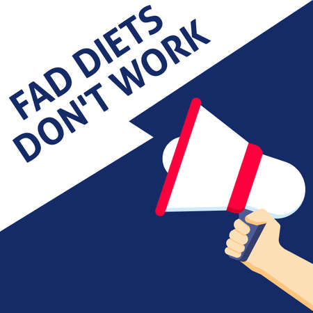 FAD DIETS DONT WORK Announcement. Hand Holding Megaphone With Speech Bubble. Flat Vector Illustration