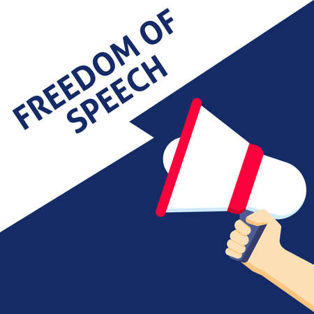 FREEDOM OF SPEECH Announcement. Hand Holding Megaphone With Speech Bubble. Flat Vector Illustration Vectores