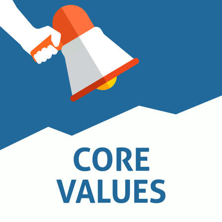 CORE VALUES Announcement. Hand Holding Megaphone With Speech Bubble. Flat Vector Illustration Stock Illustratie