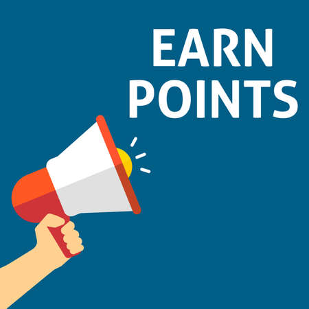 EARN POINTS Announcement. Hand Holding Megaphone With Speech Bubble. Flat Vector Illustration Illustration