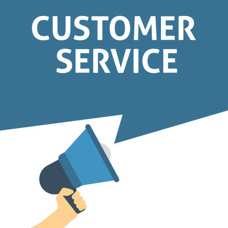 CUSTOMER SERVICE Announcement. Hand Holding Megaphone With Speech Bubble. Flat Vector Illustration