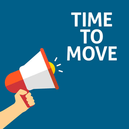 Hand Holding Megaphone With TIME TO MOVE Announcement. Flat Vector Illustration