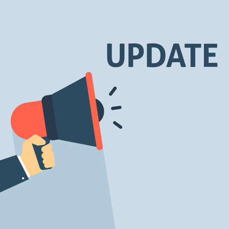 Hand Holding Megaphone With UPDATE Announcement. Flat Vector Illustration