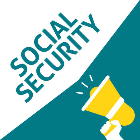 Hand Holding Megaphone With SOCIAL SECURITY Announcement. Flat Vector Illustration