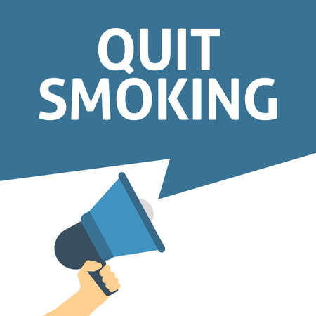 Hand Holding Megaphone With QUIT SMOKING Announcement. Flat Vector Illustration