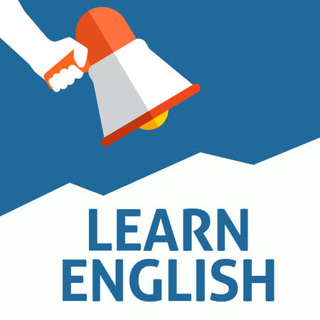 Hand Holding Megaphone With LEARN ENGLISH Announcement. Flat Vector Illustration