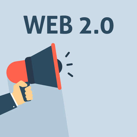 Hand Holding Megaphone With WEB 2.0 Announcement. Flat Vector Illustration