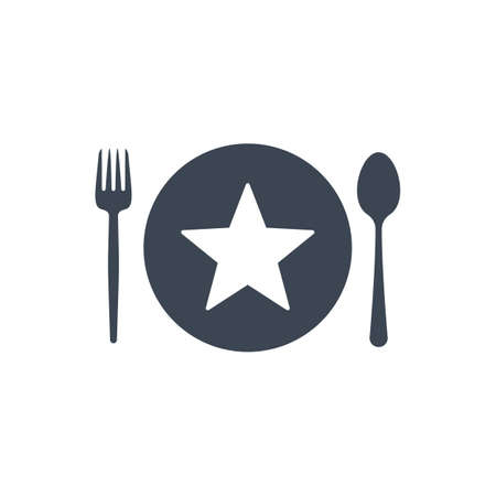 Restaurant icon, fork and spoon, plate icon with star sign. Restaurant icon and best, favorite, rating symbol Banque d'images - 108445539