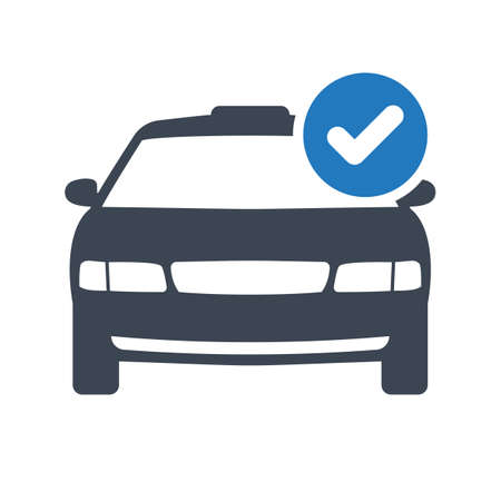 Taxi icon, transportation, taxi cab, travel concept icon with check sign. Taxi icon and approved, confirm, done, tick, completed symbol