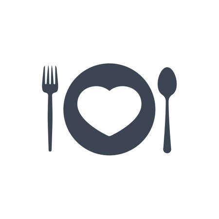 Restaurant icon, fork and spoon, plate icon with heart sign. Restaurant icon and favorite, like, love, care symbol
