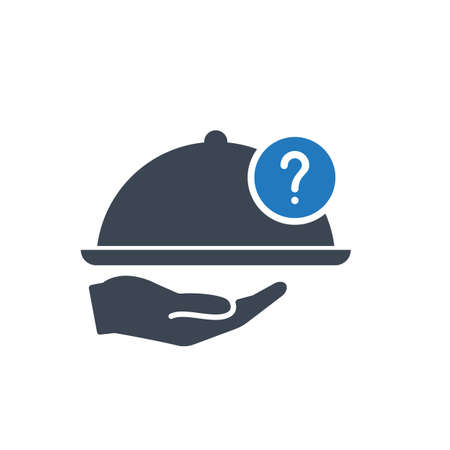 Restaurant icon, Tray on the hand concept icon with question mark. Restaurant icon and help, how to, info, query symbol