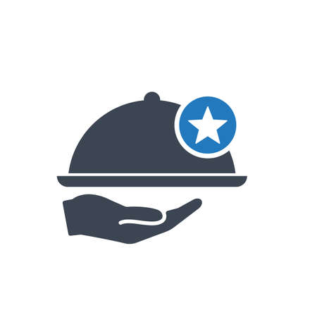 Restaurant icon, Tray on the hand concept icon with star sign. Restaurant icon and best, favorite, rating symbol Banque d'images - 109861286