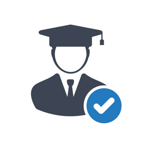 Student icon, education concept icon with check sign. Student icon and approved, confirm, done, tick, completed symbol
