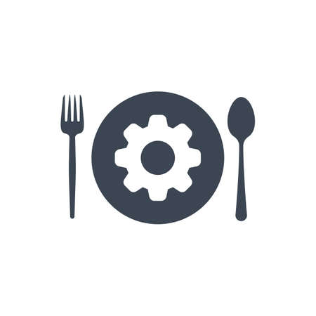 Restaurant icon, fork and spoon, plate icon with settings sign. Restaurant icon and customize, setup, manage, process symbol Vektoros illusztráció