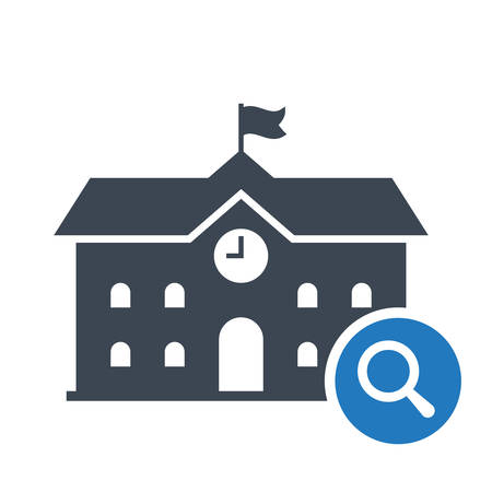 High school building icon, education icon with research sign. High school building icon and explore, find, inspect symbol. Vector illustration