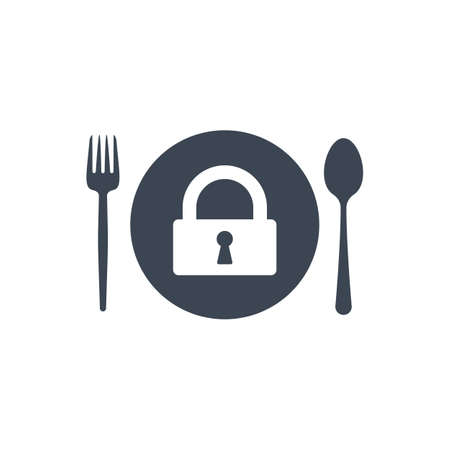 Restaurant icon, fork and spoon, plate icon with padlock sign. Restaurant icon and security, protection, privacy symbol