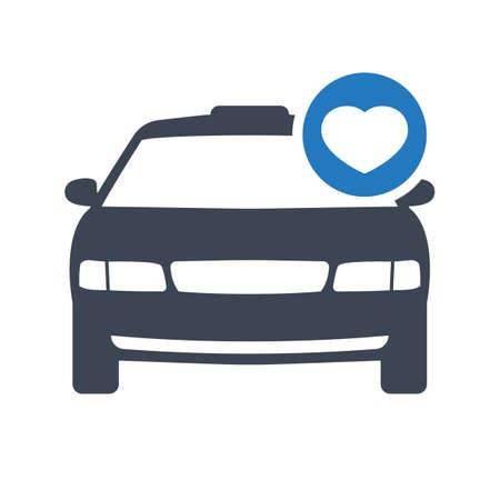 Taxi icon, transportation, taxi cab, travel concept icon with heart sign. Taxi icon and favorite, like, love, care symbol