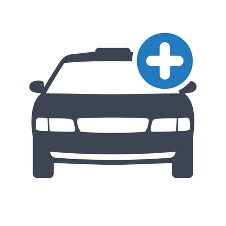 Taxi icon, transportation, taxi cab, travel concept icon with add sign. Taxi icon and new, plus, positive symbol