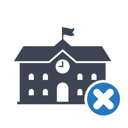 Icône de bâtiment de lycée, icône de l'éducation avec signe d'annulation. Icône de bâtiment de lycée et fermer, supprimer, supprimer le symbole. Illustration vectorielle Vecteurs