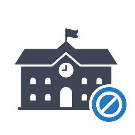 High school building icon, education icon with not allowed sign. High school building icon and block, forbidden, prohibit symbol. Vector illustration