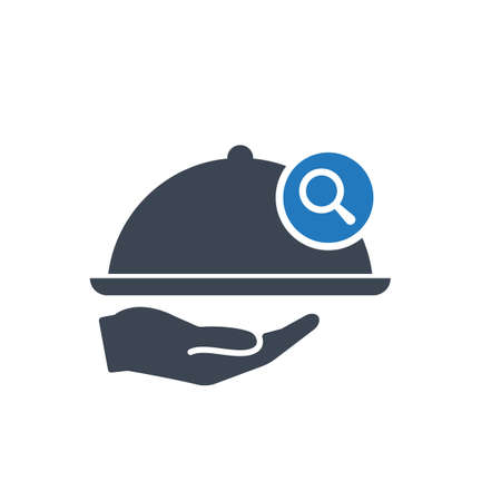 Restaurant icon, Tray on the hand concept icon with research sign. Restaurant icon and explore, find, inspect symbol