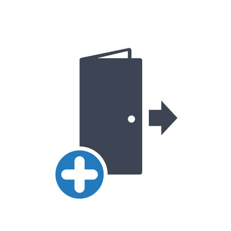 Exit icon, emergency, escape, evacuation concept icon with add sign. Exit icon and new, plus, positive symbol