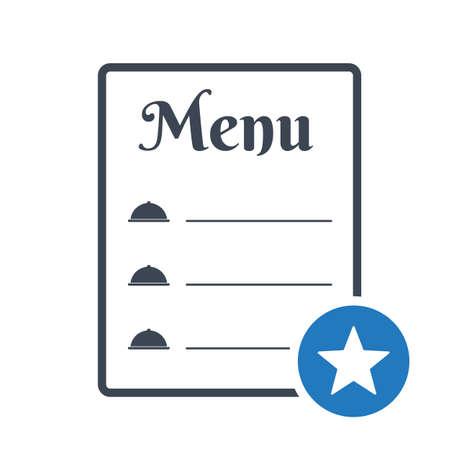 Restaurant food menu icon, cafe menu concept icon with star sign. Restaurant food menu icon and best, favorite, rating symbol Banque d'images - 108497460