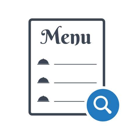 Restaurant food menu icon, cafe menu concept icon with research sign. Restaurant food menu icon and explore, find, inspect symbol