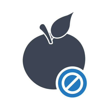 Apple icon, nutrition icon with not allowed sign. Apple icon and block, forbidden, prohibit symbol. Vector illustration