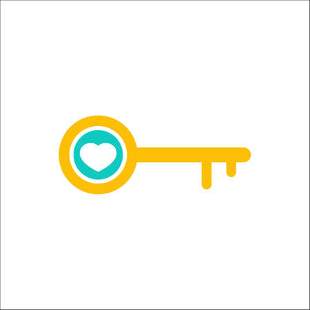 Key icon, Access, lock, locked, security icon with heart sign. Key icon and favorite, like, love, care symbol. Vector