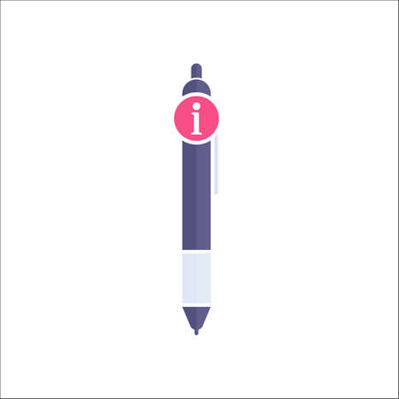 Pen icon, Ball pen, ballpoint, stationery, writing instrument icon with information sign. Pen icon and about, faq, help, hint symbol. Vector Illustration