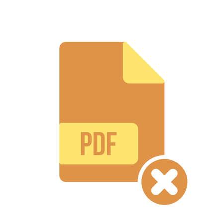 PDF document icon, pdf extension, file format icon with cancel sign. PDF document icon and close, delete, remove symbol. Vector