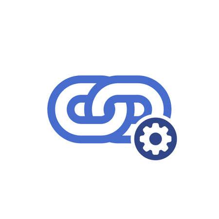 Link-Symbol, Hyperlink-Kette, Internetverbindung, Kommunikationsnetzwerk-Link, Internet-URL oder Webseiten-URL-Link-Symbol mit Einstellungszeichen. Symbol verknüpfen und Symbol anpassen, einrichten, verwalten, verarbeiten. Vektor