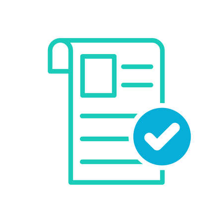 Newspaper icon, Current events, news icon with check sign. Newspaper icon and approved, confirm, done, tick, completed symbol. Vector Ilustração