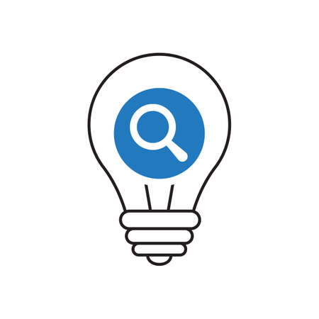 Light Bulb icon, Idea, solution, thinking icon with research sign. Light Bulb icon and explore, find, inspect symbol. Vector Vettoriali