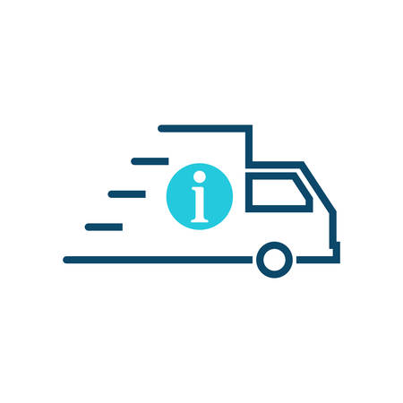 Fast shipping icon, delivery truck icon with information sign. Fast shipping icon and about, faq, help, hint symbol. Vector