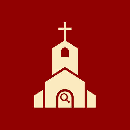Church icon, Religion building, christian, christianity temple icon with research sign. Church icon and explore, find, inspect symbol. Vector