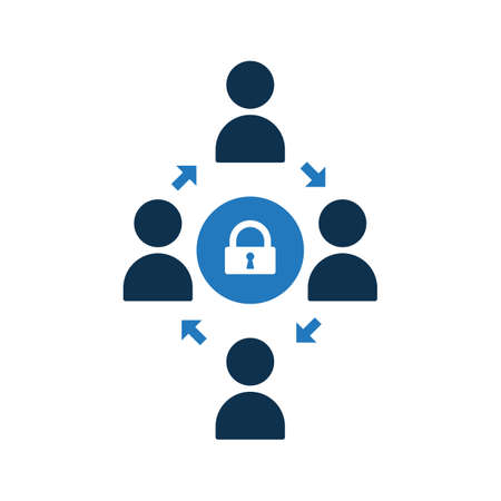 People connecting icon. Community icon with padlock sign. Teamwork icon and security, protection, privacy symbol. Vector illustration Ilustração