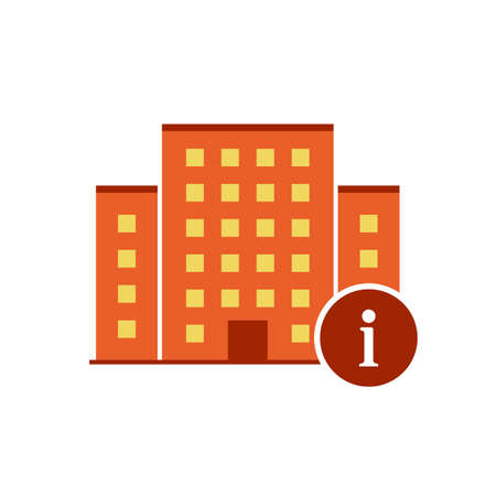 Buildings icons vector with information sign. Urban estate icon and about, faq, help, hint symbol. Vector illustration Ilustração Vetorial