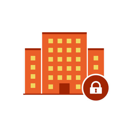 Buildings icons vector with padlock sign. Urban estate icon and security, protection, privacy symbol. Vector illustration Illustration