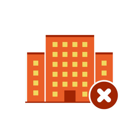 Buildings icons vector with cancel sign. Urban estate icon and close, delete, remove symbol. Vector illustration