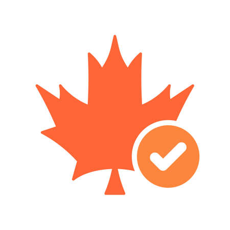Maple leaf icon, Nature leaves icon with check sign. Maple leaf icon and approved, confirm, done, tick, completed symbol. Vector