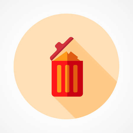 Trash bin full of garbage and feces. Bin icon. Garbage can full of trash. Large trash bin overflowing garbage (rotten fruit, old tires, packing of plastic, metal and glass). Trash fallen to the ground
