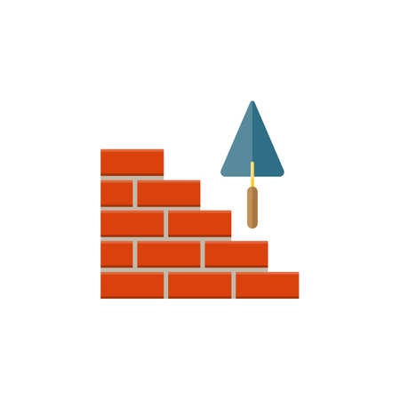Bricks icon. Building material icon. Build house foundation. Real estate construction work symbol. Laying a brick wall. Trowel. Material for construction icon. Building lego