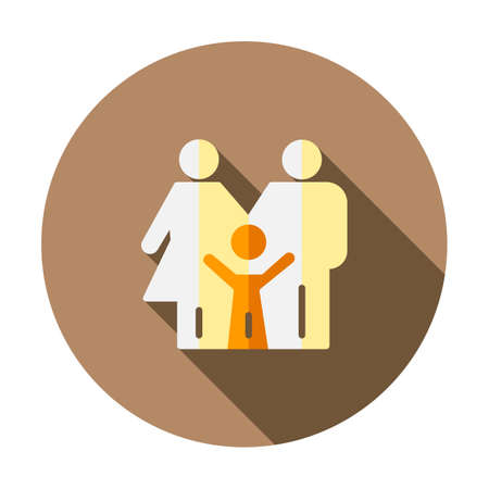 Family icon illustration design. Parents symbol vector graphic. People sign. Father, mother, child together concept. Human silhouette icon isolated. Health care insurance