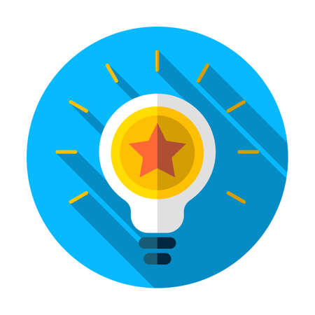 Best idea icon, star icon. Light bulb icon. Lamp illustration. Award, Innovation icon