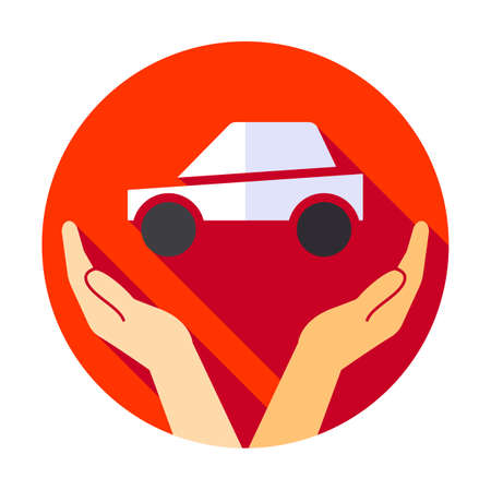 Car, hand, hold, insurance, vehicle icon. flat icon hand and car